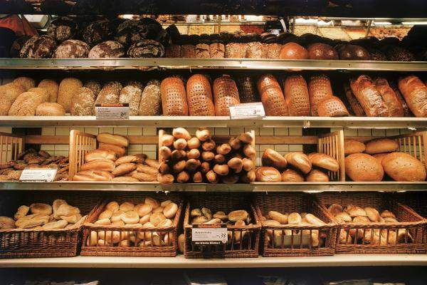 Assortment of fresh baked bread in German bakery