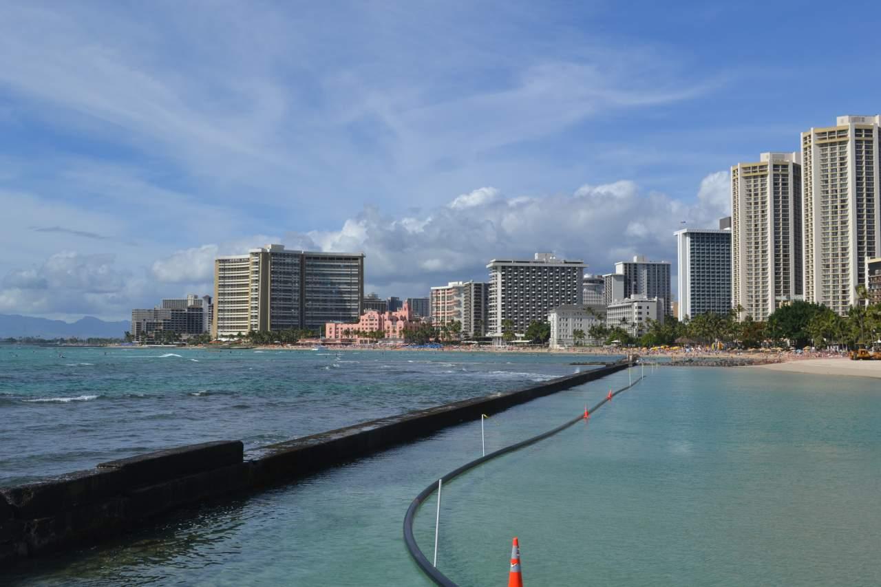 Waikiki Beach em Oahu, Havaí.