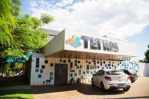 A entrada do Tetris Container Hostel