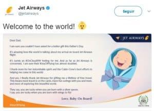 Bebê nasce durante voo e ganha passagens