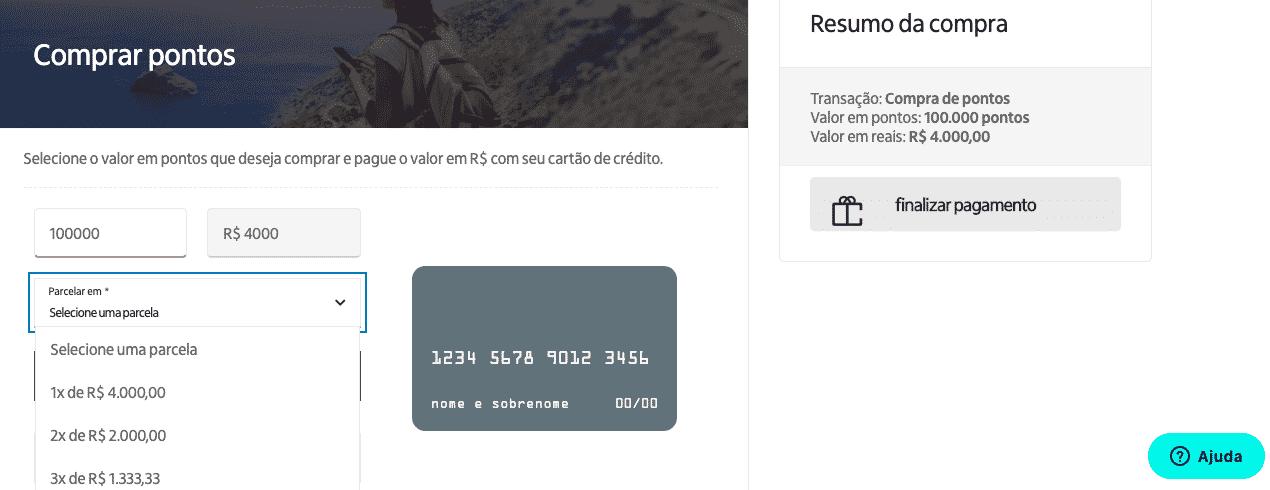 Simulação de compra de 100.000 pontos Iupp