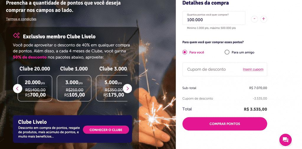 Simulação de compra de 100.000 pontos Livelo com 50% de desconto