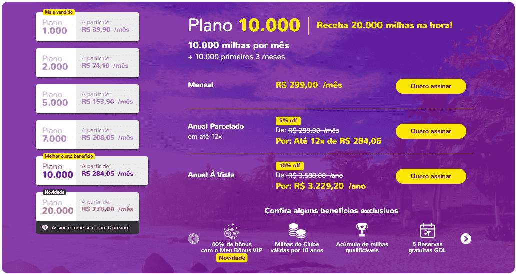 Simulação de assinatura do Clube no plano 10.000