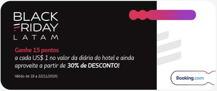 Booking.com e LATAM Pass com 15 pontos por US$1 gasto