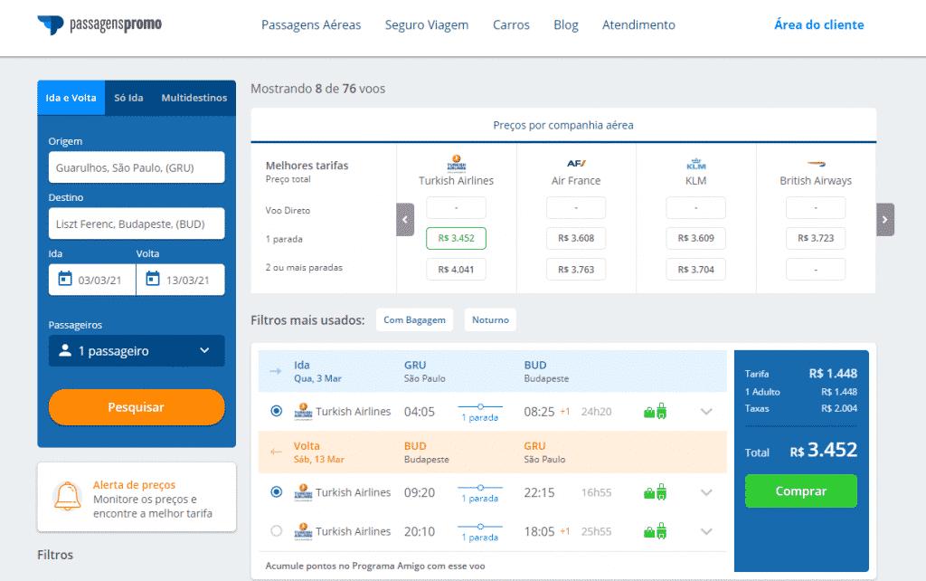 Passagem aérea para Budapeste