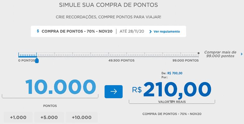 Simulação de compra de 10.000 pontos LATAM Pass