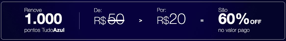 Simulação de reativação de 1.000 pontos TudoAzul