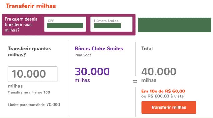 Simulação de transferência de 10.000 milhas Smiles