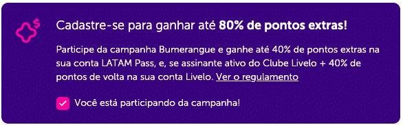 Ative a campanha Livelo e LATAM Pass