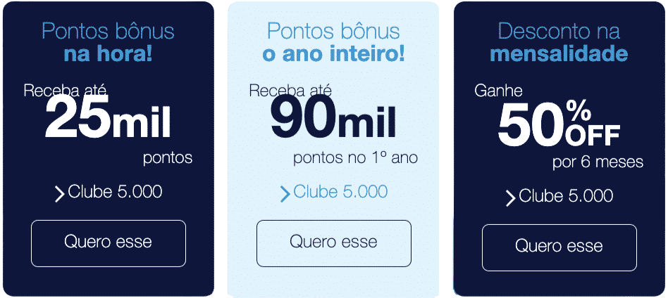 Bonificações Clube TudoAzul 5.000