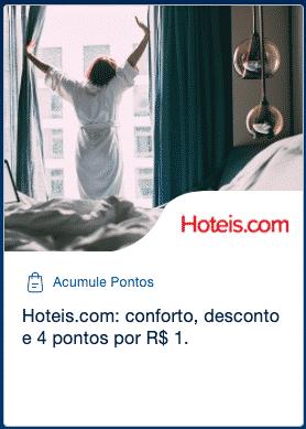 Hoteis.com e TudoAzul 4 pontos por R$1 gasto