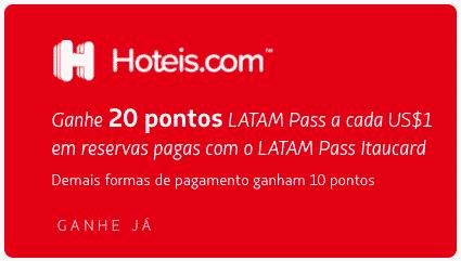 Hoteis.com e LATAM Pass 20 pontos por US$1 gasto