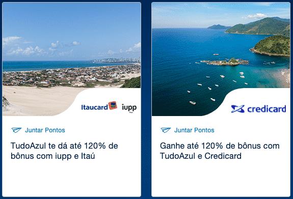 Transferência bonificada entre Iupp, Itaucard e Credicard e TudoAzul