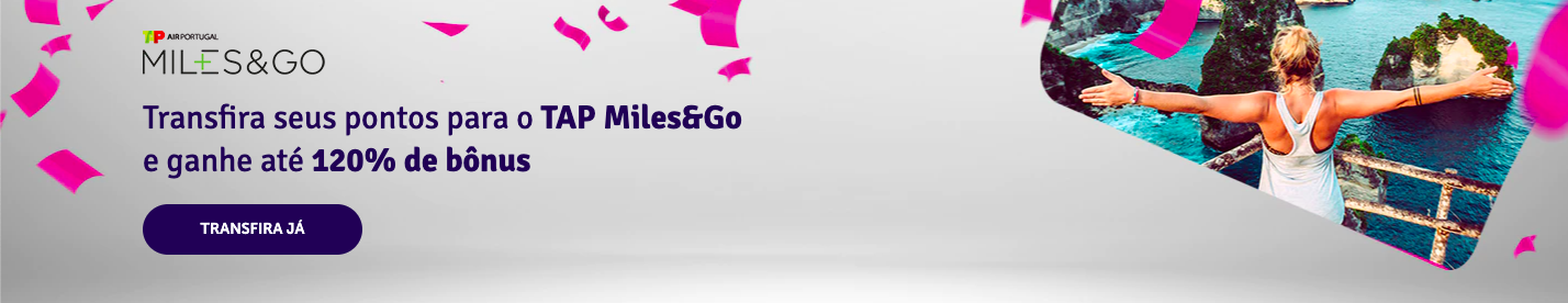 Livelo e TAP Miles&Go com até 120% de bônus