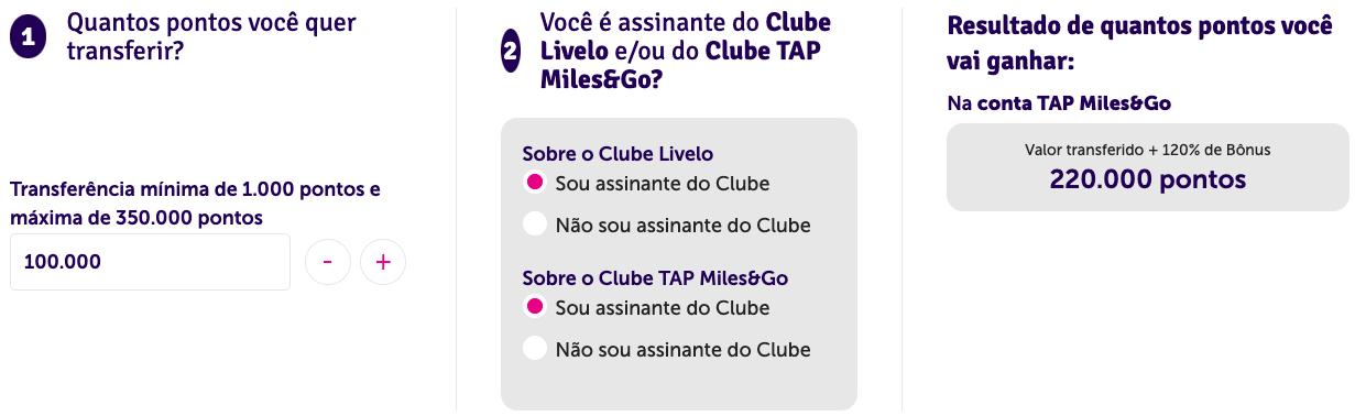 Simulação de transferência de 100.000 pontos Livelo para o programa TAP Miles&Go