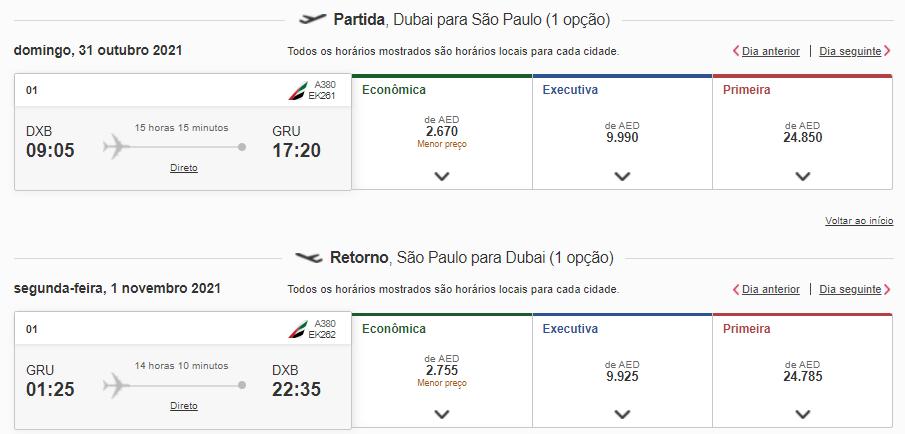 Voos de GRU para Dubai com a Emirates